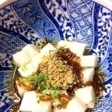 しゃきしゃき長芋のモズク酢大葉風味