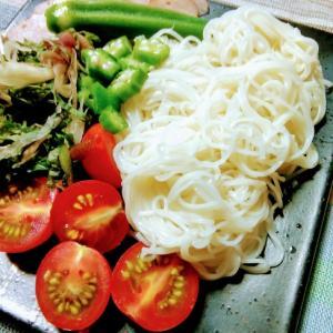 我が家の夏野菜たっぷり素麺