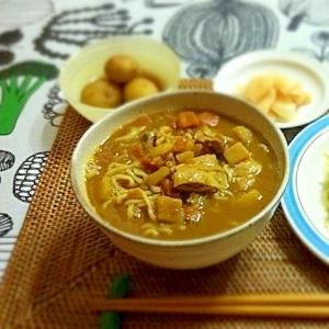 中華麺でカレーそば♪