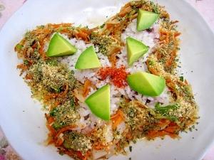 シャキピリ♪アボ切干間引菜の柚子ココ白味噌グァバ丼