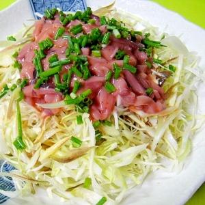 千切りキャベツと香味野菜の塩辛サラダ