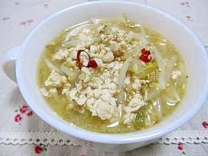 ♪鶏ひき肉ともやしの中華スープ♪
