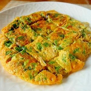 水菜と塩麹きのこの卵焼き