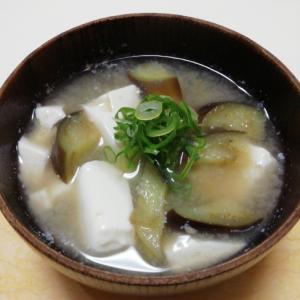 なすと豆腐の麦味噌汁