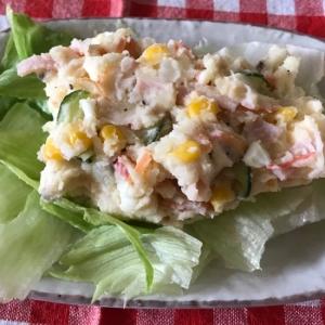 イカ卵カニカマハムコーンきんぴら胡瓜でポテトサラダ