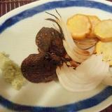 炙り新たまねぎと椎茸、わさび醤油で