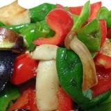 ピーマン、パプリカ、しめじ、なすびの中華風野菜炒め