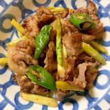 豚バラ、アスパラ、ししとうの生姜焼き