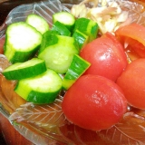 茗荷キュウリ湯剥きトマトのサラダ