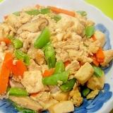 スナップエンドウとひき肉の炒り豆腐