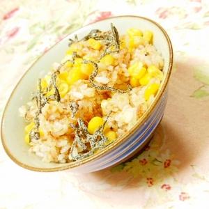 ❤鰹節とすき焼きのタレとコーンと塩昆布の混ぜご飯❤