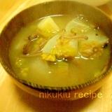 かきの木茸・大根・ふきのとう・じゃがいもの味噌汁