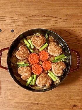 ハートなお肉の♡バレンタイン煮込みハンバーグ