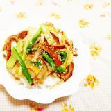 小松菜と竹輪の卵とじどんぶり