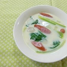チンゲン菜とウインナーのクリームスープ