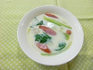 チンゲン菜とウィンナーのクリームスープ