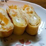 卵1個☆びわコンポート入り甘い卵焼き
