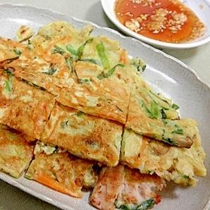 コチジャンのピリ辛ダレで食べるしめじと豚肉のチヂミ