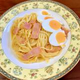 ベーコンとゆで卵のかぼちゃクリームパスタ