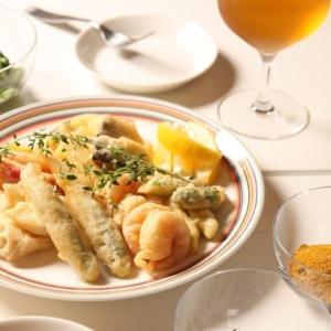 白身魚と海老、野菜のベニエ