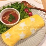 雑穀米で水玉オムライス〜星バージョン〜