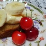 珈琲かけカステラのバニラアイスとバナナのせ*