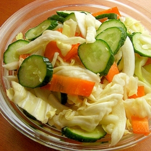 生姜入り❤3種の野菜の一夜漬け♪(揉まないでOK)