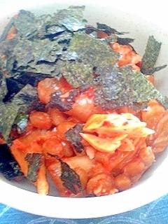 納豆の食べ方-鮭キムチ♪