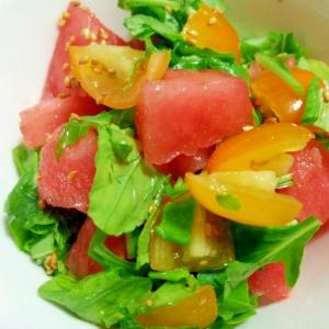 すいかとプチトマトルッコラの3色サラダ