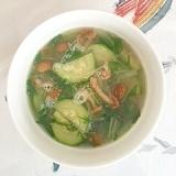 ズッキーニ、なめこ、水菜のスープ