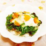 塩レモン&チーズ風味♪かつお菜と人参の巣ごもり卵