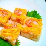 ひな祭りや七夕に!ちらし寿司の素で海老の押し寿司♡