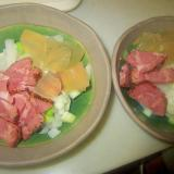牛タン燻製とグリル葱と大根サラダグリル