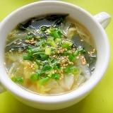 白菜とわかめのダシダスープ