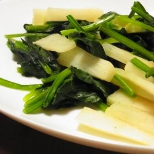 長芋とほうれん草のバター炒め。