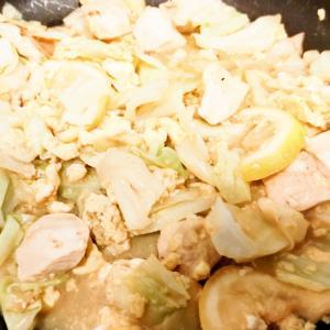 鶏と卵のレモン汁炒め