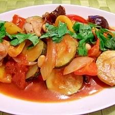 彩り夏野菜と大豆で具だくさん鶏のトマト煮