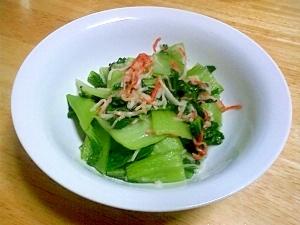 チンゲン菜とかにかまの炒め物