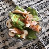 マッシュルームとささみの燻製のサラダ