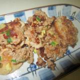椎茸と牛豚挽肉とズッキーニの味醂醤油グリル