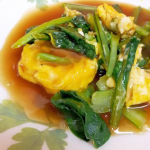 レンジであん作り(^^)小松菜の卵とじあんかけ♪