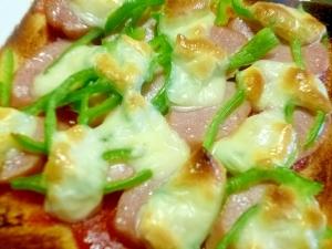 簡単♪朝ごパン♪ピーマンとウインナーのピザトースト
