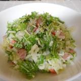 水菜とジャガ芋、ウィンナーのチョップドサラダ