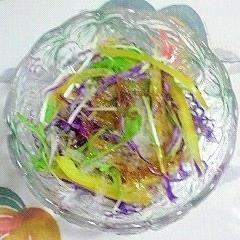 紫キャベツ、パプリカ、糸寒天、水菜のサラダ~♪