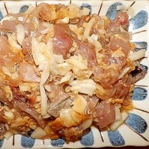 玉葱と味噌を使ってアジのたたき