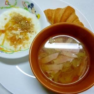 レタスとハムのスープとヨーグルトdeワンプレート