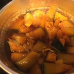 納豆のたれで、カボチャを茹でる