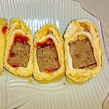 市販のハンバーグで☆ケチャップハンバーグ卵焼き