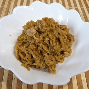 切り干し大根の煮物で、ツナカレー炒め