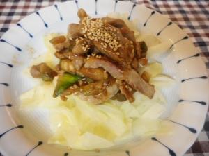 豚肉と白なすのピリ辛醤油麹炒め